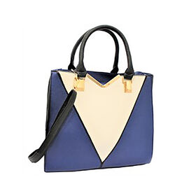 New Season - Colour Blocking Handbag with Removable Strap (28 x 31 x 16) - Blue
