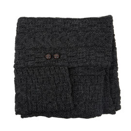 Aran 100% New Woollen Mills Irish Poncho in Charcoal Colour -One Size (8-18)