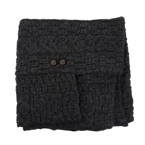 Aran 100% New Woollen Mills Irish Poncho in Charcoal Colour -One Size (8-18)