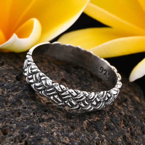 Royal Bali Collection - Sterling Silver Woven Band Ring