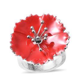 Poppy Design Enamelled Ring (Size R) in Silver Tone