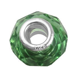 Charmes De Memoire Green Murano Glass Bead Charm in Platinum Plated Sterling Silver