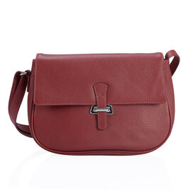 PREMIER COLLECTION Super Soft 100% Genuine Leather Ture Wine Red Colour Sling Bag with Adjustable Sling Strap (Size 27x18x7.5 Cm)