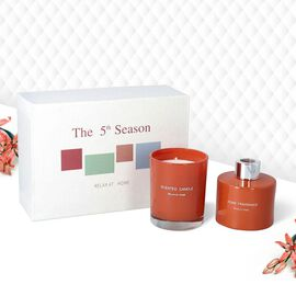 The 5th Season - Gift Box Set of Scented Candle and Diffuser - Orange (Fragrance Diffuser: Chance &