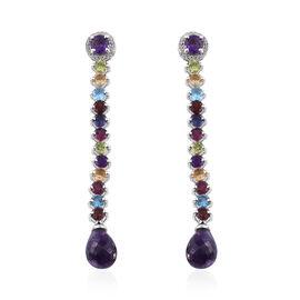 19.08 Ct Amethyst and Multi Gemstones Drop Earrings in Platinum Plated Sterling Silver 8.41 Grams