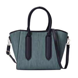 Green Stylish Tote Bag with Zipper Closure and Adjustable Shoulder Strap (Size 27x14x24cm)