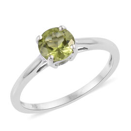 9K White Gold AA Hebei Peridot (Rnd 6 mm) Solitaire Ring 0.900 Ct.