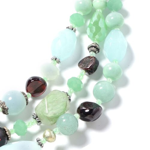 Green Quartz, Simulated Peridot, Garnet, Green Aventurine, Fresh Water Pearl-Green Colour and Multi Colour Beads Necklace (Size 24 with 2.50 inch Extender) in Silver Bond