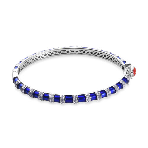 GP - Natural Cambodian Zircon (Rnd), Blue Sapphire Enamelled Ladybird Bangle (Size 7.5) in Platinum Overlay Sterling Silver 3.06 Ct., Silver wt 23.00 Gms