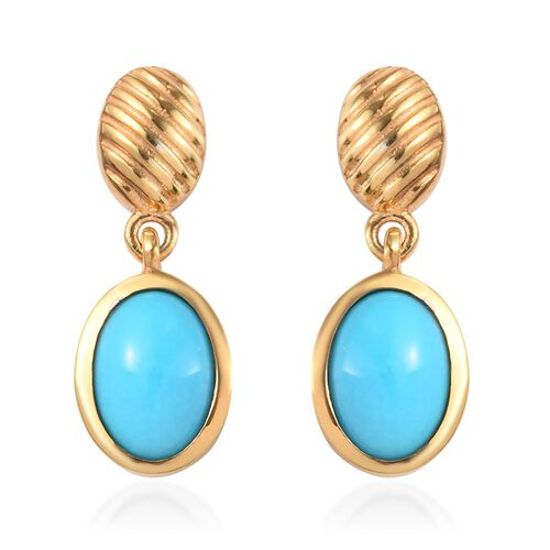 Arizona Sleeping Beauty Turquoise Drop Earrings (with Push Back) in 14K Gold Overlay Sterling Silver