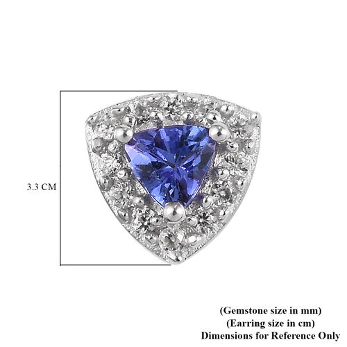 AAA Tanzanite and Natural Cambodian Zircon Earrings (with Push Back) in  Platinum Overlay Sterling Silver 1.00 Ct.