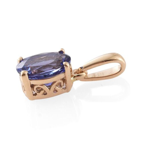 ILIANA 18K Yellow Gold AAA Tanzanite (Ovl) Solitaire Pendant 1.000 Ct.