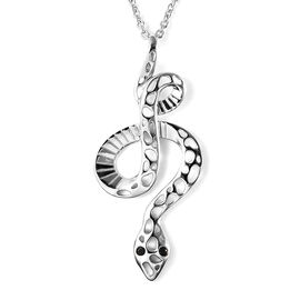RACHEL GALLEY Venom Collection-  Black Spinel Pendant with Chain (Size 30) in Rhodium Overlay Sterli