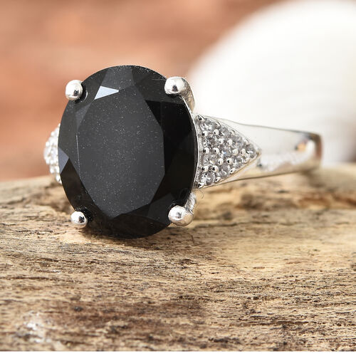 Black Tourmaline (Ovl 4.35 Ct), Natural Cambodian Zircon Ring in Platinum Overlay Sterling Silver 4.500 Ct.