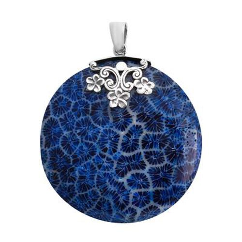 Royal Bali Collection - Blue Sponge Coral Pendant in Sterling Silver