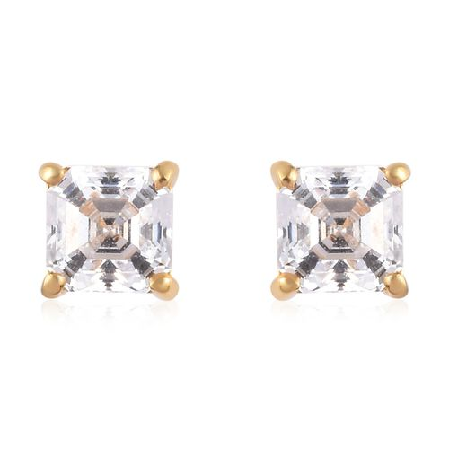 J Francis 14K Yellow Gold Overlay Sterling Silver Stud Earrings (with Push Back) Made with SWAROVSKI