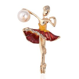 Simulated Pearl and White Austrian Crystal Ballerina Brooch in Gold Tone
