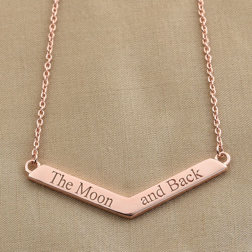 Personalise Engravable V Shape Bar Necklace with 20 Inch Chain