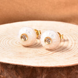 Galatea Pearl - Star in a Pearl- Carved Freshwater White Pearl and Natural Cambodian Zircon Stud Earrings (with Push Back) in Yellow Gold Overlay Sterling Silver