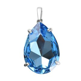 J Francis - Crystal from Swarovski Aquamarine Colour Crystal (Pear) Pendant in Platinum Overlay Ster