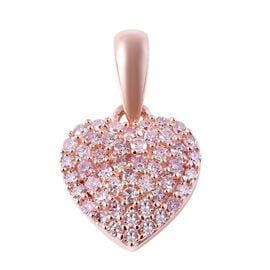 0.25 Ct Natural Pink Diamond Cluster Heart Pendant in 9K Rose Gold