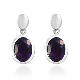 Amethyst (Ovl 8x6mm) Drop Earrings in Platinum Overlay Sterling Silver 2.00 Ct.
