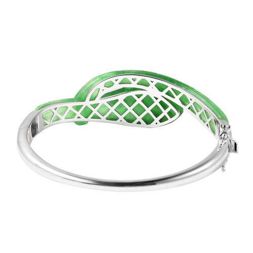 Green Jade, Natural Cambodian Zircon Snake Bangle (Size 7.5) in Rhodium Overlay Sterling Silver 94.28 Ct, Silver wt. 20.55 Gms