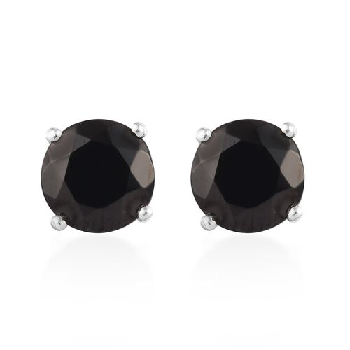 1.50 Ct Elite Shungite Solitaire Stud Earrings in Platinum Plated Sterling Silver