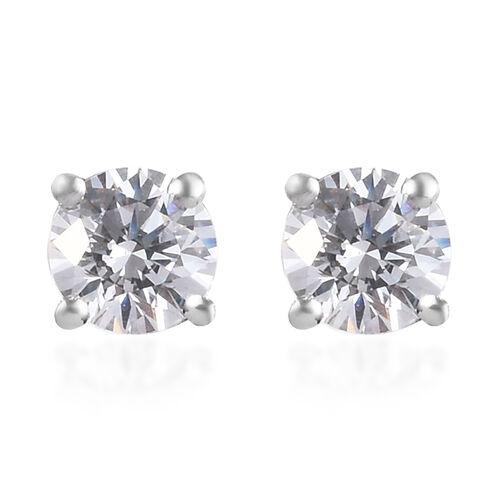 J Francis Swarovski Zirconia Platinum Overlay Sterling Silver Stud Earrings (with Push Back) 1.00 Ct