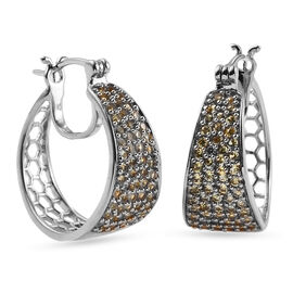 Orange Sapphire Full Hoop Earrings (with Clasp) in Platinum Overlay Sterling Silver 1.94 Ct, Silver