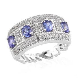 GP Premium Tanzanite and Natural Cambodian Zircon and Blue Sapphire Ring in Platinum Overlay Sterlin