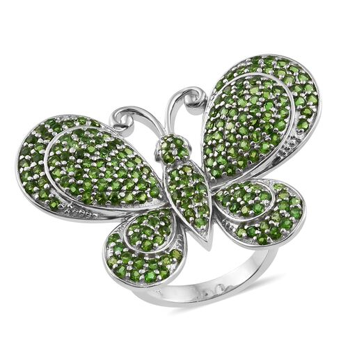 Super Auction- Designer Inspired Russian Diopside (Rnd), Natural Cambodian Zircon Butterfly Ring in Platinum Overlay Sterling Silver 5.250 Ct. Silver Wt. 12.71 Grams Total Number of Gemstone 195