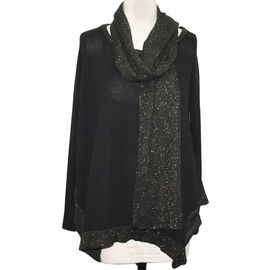 SUGAR CRISP 2 Piece Set Glitter Jumper & Scarf (Size M) - Black