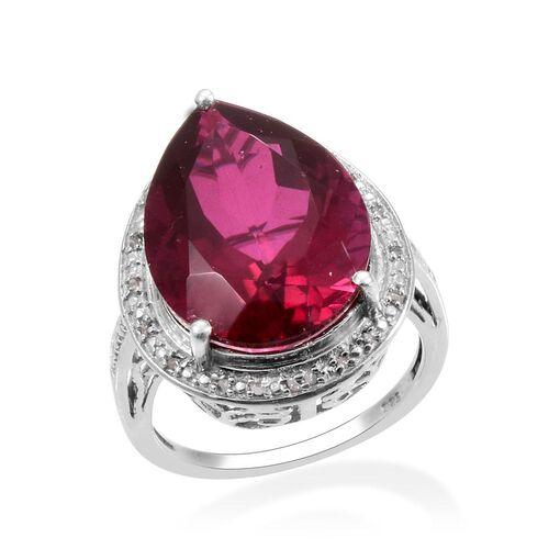 Rubelite Colour Quartz (Pear 14.50 Ct), Diamond Ring in Platinum Overlay Sterling Silver 14.600 Ct.