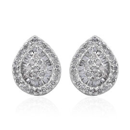 GP Diamond Cluster Stud Earrings in Platinum Plated Sterling Silver With Push Back