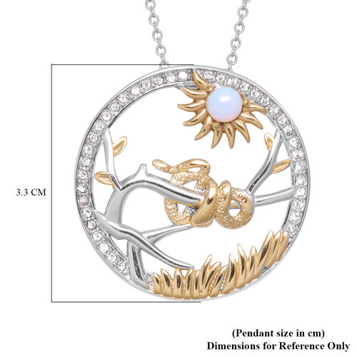 Opalite and White Austrian Crystal Snake  Pendant with Chain (Size 24) in Gold Tone and Plain Stainless Steel