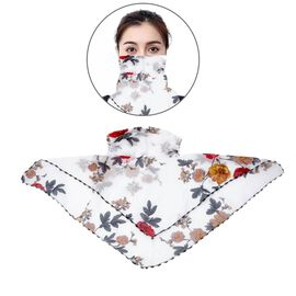 2 in 1 Flower Pattern Chiffon Soft Feel Scarf and Protective Face Mask (Size 45x45 Cm) - White and M