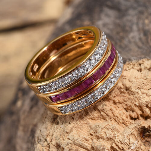 Set of 3- African Ruby (Sqr 1.00 Ct), Natural White Cambodian Zircon Stacker Ring in 14K Gold Overlay Sterling Silver 1.500 Ct, Silver wt 7.00 Gms.
