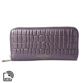 Sencillez 100% Genuine Leather RFID Protected Croc Embossed Wallet (Size 19x2x10cm) - Metallic Bronz
