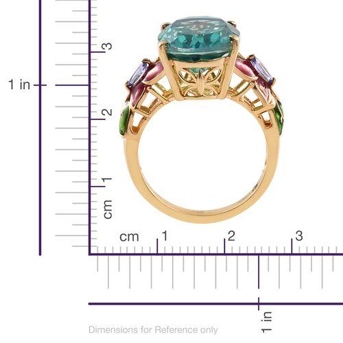 GP Peacock Quartz (Ovl 13.30 Ct), Tanzanite and Kanchanaburi Blue Sapphire Ring in 14K Gold Overlay Sterling Silver 13.500 Ct.