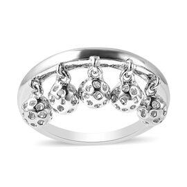 RACHEL GALLEY Bold Lattice Collcetion - Rhodium Overlay Sterling Silver Dangling Lattice Ball Ring