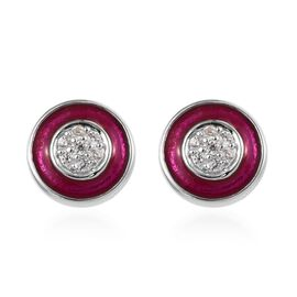 Cambodian Zircon (0.25 Ct) Platinum Overlay Sterling Silver Earring  0.150  Ct.