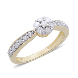 9K Yellow Gold SGL Certified Diamond (Rnd) (I3/G-H) Floral Ring 0.500 Ct.