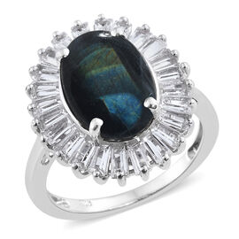 5.5 Ct Natural Spectrolite and White Topaz Halo Ring in Platinum Plated Silver 5.18 Grams