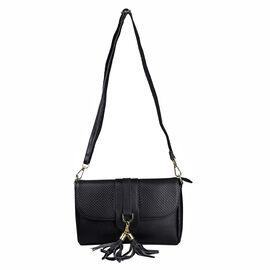 Sencillez Genuine Leather Snake Print Bag (Size 25x6x16 Cm) - Black