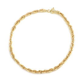 Italian Made 9K Yellow Gold Diamond Cut Rope Bracelet (Size 7.5)