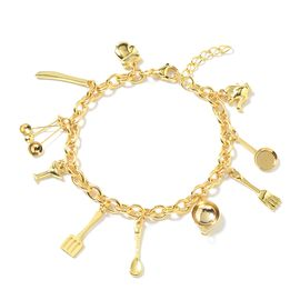 Stainless Steel Multi Charm Bracelet (Size 8 and 1 inch Extender) in Yellow Plating