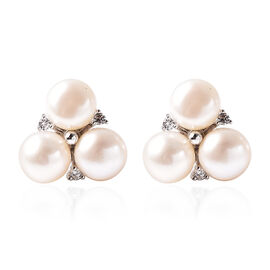 Freshwater White Pearl and Simulated Diamond Three-Leaf Clover Stud Earrings (with Push Back) in Rho