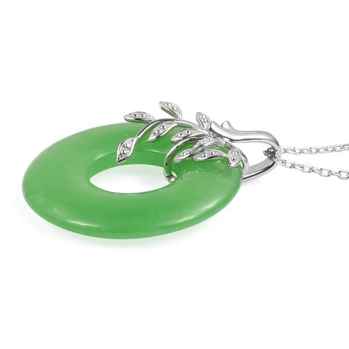 Green Jade Pendant with Chain in Rhodium Plated Sterling Silver 31.000 Ct.