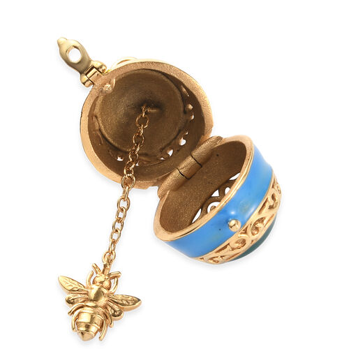 18K Yellow Gold Tone Enamelled Openable Locket Pendant